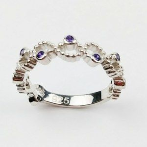 925 Ring Size 6 Sterling Silver Twisted Purple